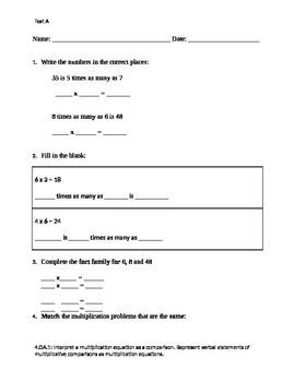 Multiplication Comparison Assessment