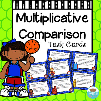 Multiplication Comparison Common Core Task Cards [basketball themed]