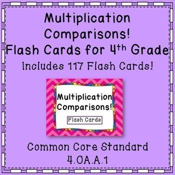 Multiplication Comparisons Math Flash Cards Common Core {4th Grade}