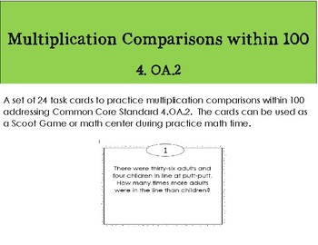 Multiplication Comparisons Within 100
