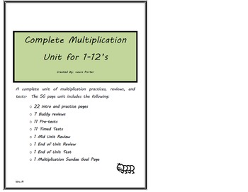 Multiplication- Complete Unit 1's-12's- 68 pgs of practice, stations and tests
