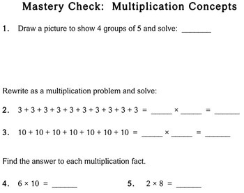 Multiplication Concepts, 2nd grade - Individualized Math - worksheets