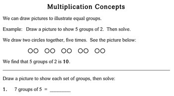 Multiplication Concepts, 2nd grade - worksheets - Individualized Math