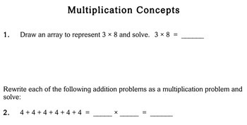 Multiplication Concepts, 3rd grade - Individualized Math - worksheets