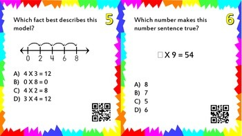 Multiplication Concepts Task Cards with QR Codes