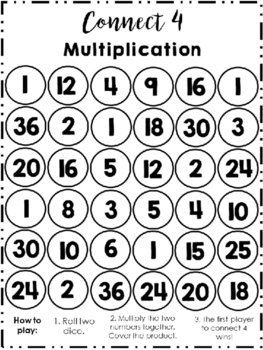 Multiplication Connect 4 (Includes Rules and Chart) - Connect Four Math Center