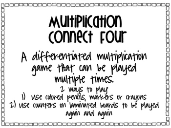 Multiplication Connect Four FREEBIE