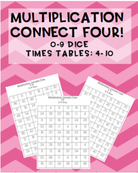 Multiplication Connect Four maths games! 0-9 dice {7 games}
