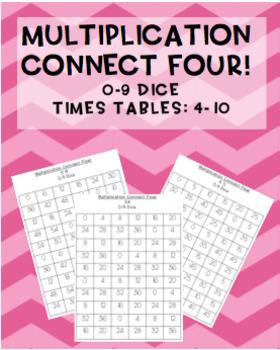 #AUSBTS18 Multiplication Connect Four maths games! 0-9 dice {7 games}