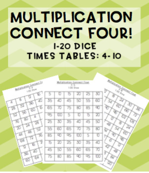 Multiplication Connect Four maths games! 1-20 dice {7 games}