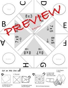 Multiplication Cootie Catcher (Multiples 2-12) Set of 20