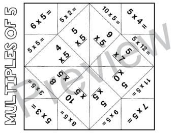 Multiplication Cootie Catchers (multiples 1-12)