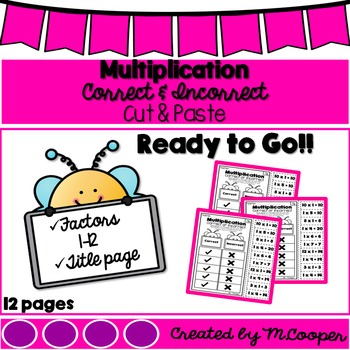 Multiplication Correct and Incorrect Cut and Paste