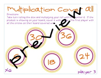 Multiplication Cover All Game for 3's, 4's, 5's, and 6's