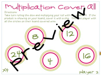 Multiplication Cover All for 7's, 8's, 9's, and 10's