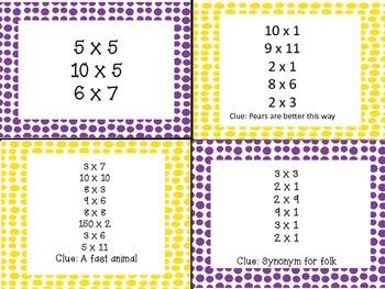 Multiplication Crack the Code Math Centers Fun Activity