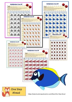 Multiplication Cross Off Game Pack - Sea Life Theme