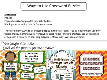 Multiplication Crossword Puzzles - Freebie