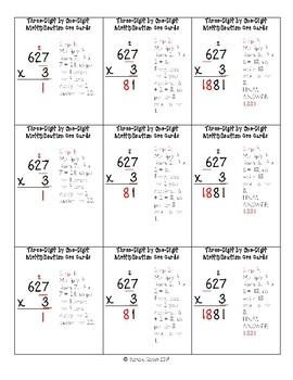 Multiplication Cue Cards