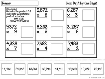 Multiplication Cut & Paste for Upper Elementary