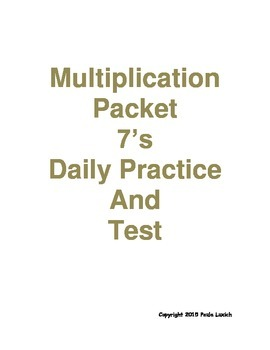 Multiplication Daily Worksheets 7's