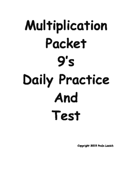 Multiplication Daily Worksheets 9's