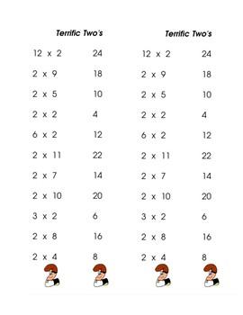 Multiplication Dash Cards