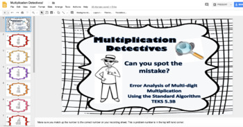 Multiplication Detectives: Standard Algorithm Error Analysis TEKS 5.3B