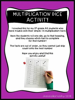Multiplication Dice Activity/ Game