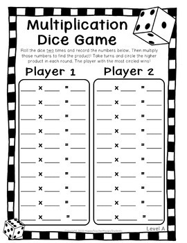 Multiplication Dice Game: 4 Versions included - Multiplication Game Printable
