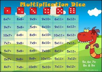 'MULTIPLICATION GAME' - a 5,6,7,8 & 9 times table game