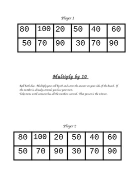 Multiplication Dice Game Cards