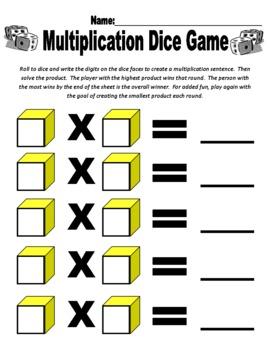 Multiplication Dice Game Sheet