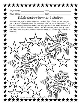 Multiplication Dice Games Facts 1-6 and 1-10 Stars