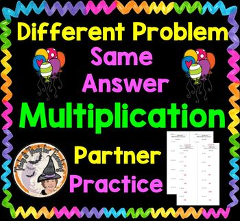 Multiplication Worksheet with KEY Partners Different Problem Same Answer