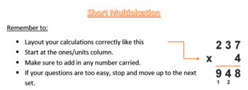 Short Multiplication: Differentiated Activity
