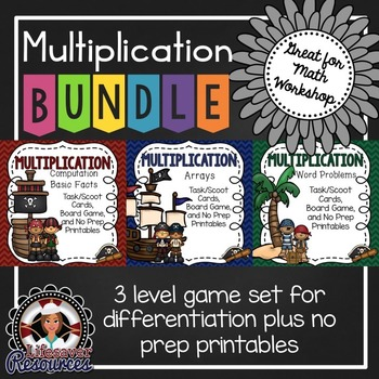 Multiplication Games - Differentiated Bundle 3.OA.1 3 Leve