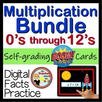 Multiplication - Digital Flash Cards (Facts 0 - 12) Great Fact Fluency Practice!
