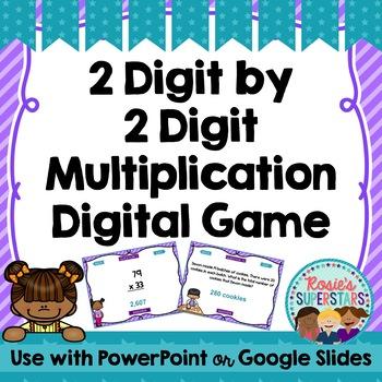 Multiplication Digital Game: 2 Digit by 2 Digit ~ PowerPoint and Google Slides™