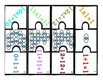 Multiplication & Division 1s Puzzle with Visual Model