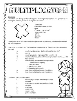 Multiplication & Division: Project Based Learning Activity