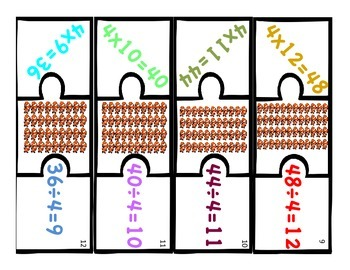 Multiplication & Division 4s Puzzle with Visual Model