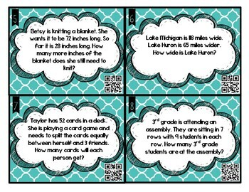 Multiplication, Division, Addition and Subtraction Word Problem Task Cards