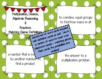 Multiplication, Division, Algebraic Reasoning & Fractions Vocabulary 3rd Grade