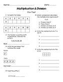 Multiplication & Division Assessment Unit (for use with Magic of Math 3rd Grade)