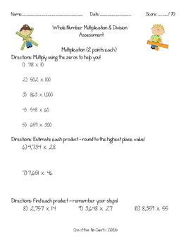 Multiplication & Division Assessment - Whole Numbers
