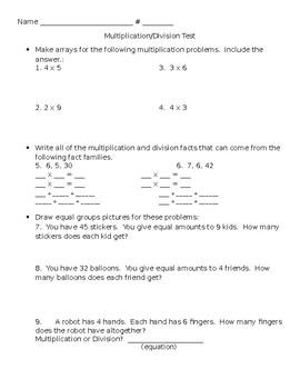 Multiplication Division Assessment (basic)