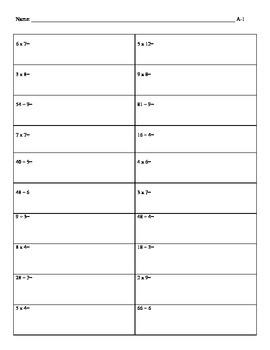 Multiplication & Division Basic Facts Timed Tests