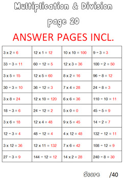 Multiplication & Division Booklet Worksheets Speed Tests