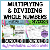 Multiplication of Whole Numbers and Division Worksheets or Tests Bundle